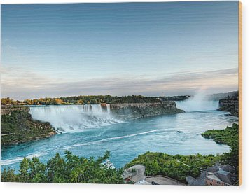 Wood Print featuring the photograph Sunset American And Canadian Falls At Niagara  by Marek Poplawski