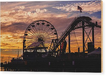 Sunset Amusement Park Farris Wheel On The Pier Fine Art Photography Print Wood Print