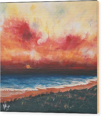 Sunset Wood Print by Amy Williams
