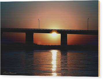 Wood Print featuring the photograph Sunset And Bridge by Debra Forand
