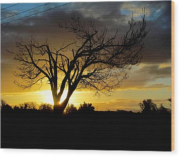 Sunset And Clouds. Wood Print by Joyce Woodhouse