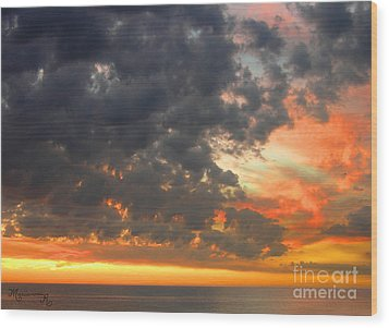 Sunset And Clouds Wood Print by Mariarosa Rockefeller