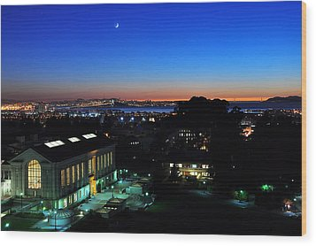 Sunset And Crescent Moon Over Campus Wood Print