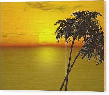 Sunset And Palms Wood Print by John Vito Figorito