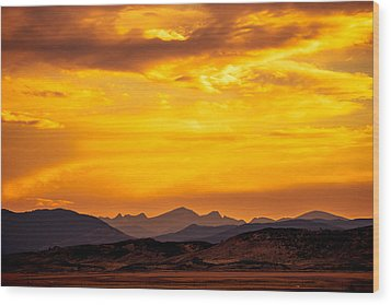 Sunset And Smoke Covered Mountains Wood Print by Rebecca Adams