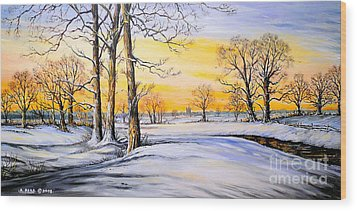 Sunset And Snow Wood Print by Andrew Read