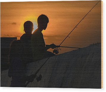 Sunset Anglers Wood Print