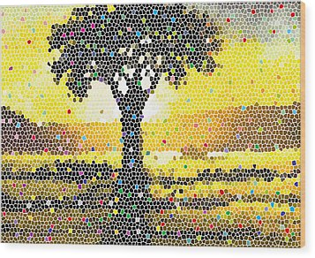 Wood Print featuring the painting Sunset Beauty by Anthony Mwangi