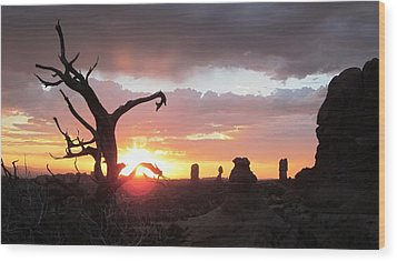 Sunset Arches National Park Wood Print