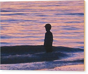 Sunset Art - Contemplation Wood Print by Sharon Cummings