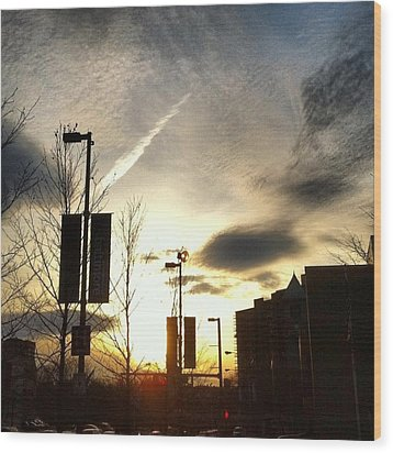 Sunset At Academic Center Wood Print by Toni Martsoukos