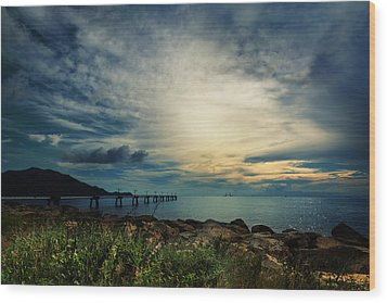 Wood Print featuring the photograph Sunset At Airport by Afrison Ma