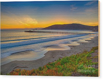 Sunset At Avila Beach Wood Print