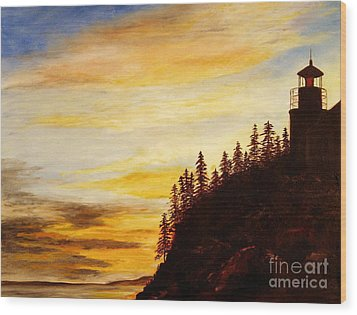 Wood Print featuring the painting Sunset At Bass Harbor by Lee Piper