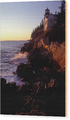 Sunset At Bass Harbor Lighthouse Wood Print by Brent L Ander