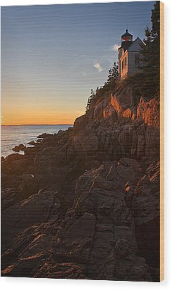 Sunset At Bass Head   Wood Print by Priscilla Burgers