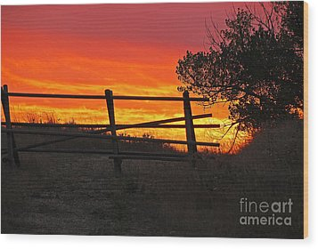 Sunset At Bear Butte Wood Print by Mary Carol Story