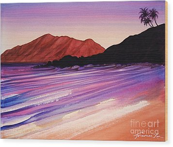 Sunset At Black Rock Maui Wood Print