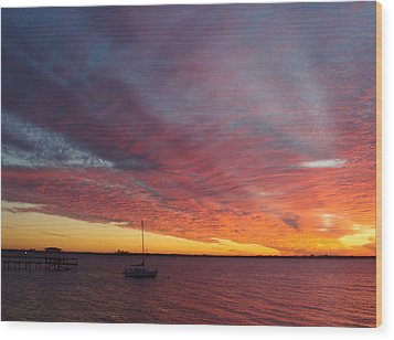 Sunset At Cafe Coconut Cove 6 Wood Print
