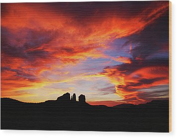 Sunset At Cathedral Wood Print by Tom Kelly