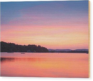 Sunset At Chickawaukee Lake II Wood Print by Ernest Puglisi