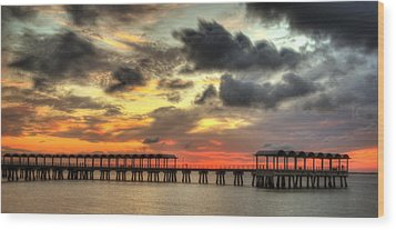 Sunset At Clam Creek Fishing Pier Wood Print by Greg and Chrystal Mimbs