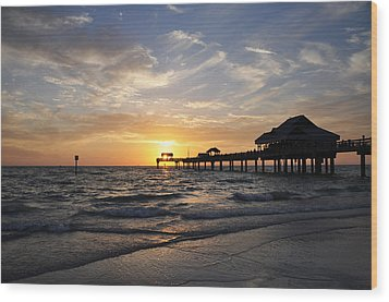 Sunset At Clearwater Wood Print by Bill Cannon