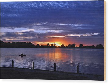 Sunset At Creve Coeur Park Wood Print