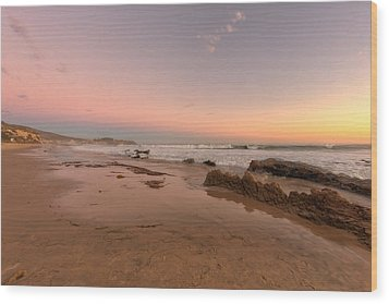 Sunset At Crystal Cove Hdr Wood Print by Angela A Stanton