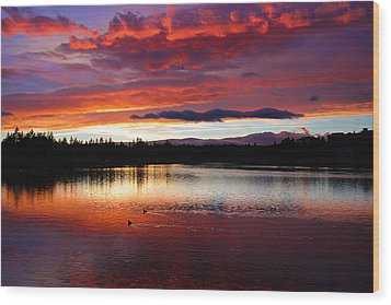 Sunset At Farewell Bend Park Wood Print by Engin Tokaj
