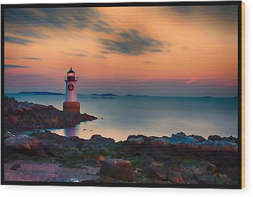 Sunset At Fort Pickering Lighthouse Wood Print by Jeff Folger