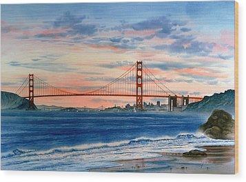 Sunset At Golden Gate Bridge Wood Print by John YATO