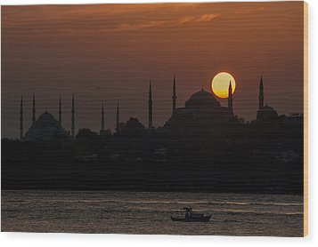 Sunset At Historical Peninsula In Istanbul Wood Print by Ayhan Altun