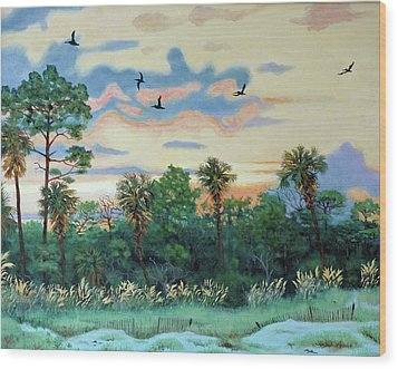 Wood Print featuring the painting Sunset At Hunting Island by Dwain Ray
