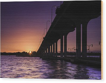 Sunset At Jensen Beach Wood Print
