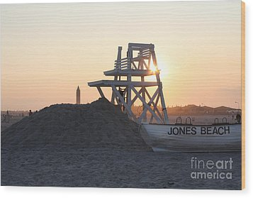 Sunset At Jones Beach Wood Print
