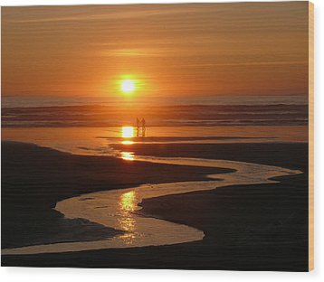 Sunset At Kalaloch Wood Print by Joel Deutsch