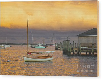 Sunset At Kennedy Compound Wood Print by Amazing Jules