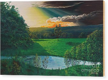 Sunset At L Hermitiere Wood Print by Christian Simonian