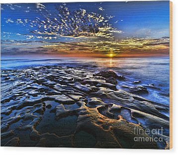 Sunset At La Jolla Tide Pools Wood Print by Peter Dang