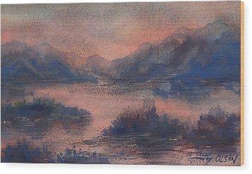 Sunset At Lake Champlain Wood Print by Joy Nichols