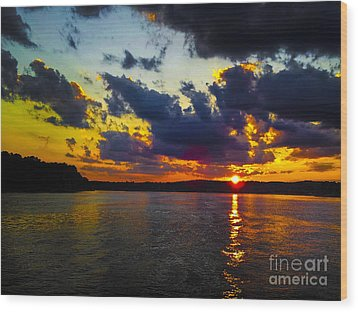 Sunset At Lake Logan Martin Wood Print