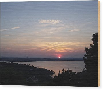 Sunset At Lake Travis Wood Print by Cindy Croal