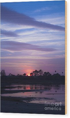 Sunset At Malibu Beach Lagoon Estuary Fine Art Photograph Print Wood Print