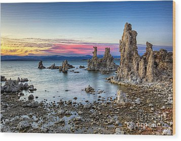 Sunset At Mono Lake Wood Print