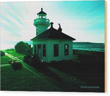 Sunset At Mukilteo Lighthouse Park  Wood Print by Eddie Eastwood