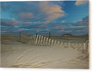 Sunset At Nauset Beach Cape Cod Wood Print by Amazing Jules