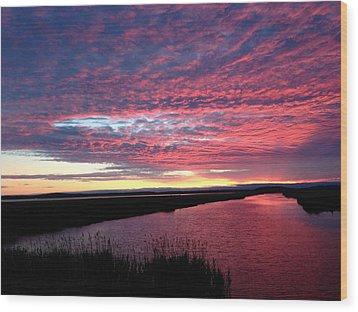 Sunset At North Pool Wood Print by Nancy Landry