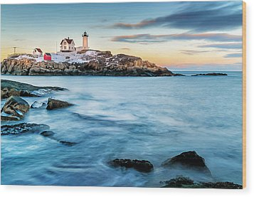 Sunset At Nubble Light-cape Neddick Maine Wood Print by Expressive Landscapes Fine Art Photography by Thom