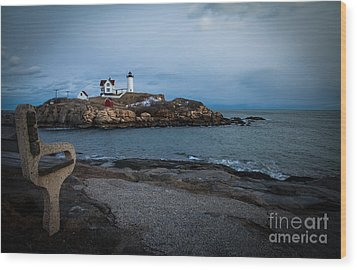 Sunset At Nubble Light House Wood Print by Sue OConnor